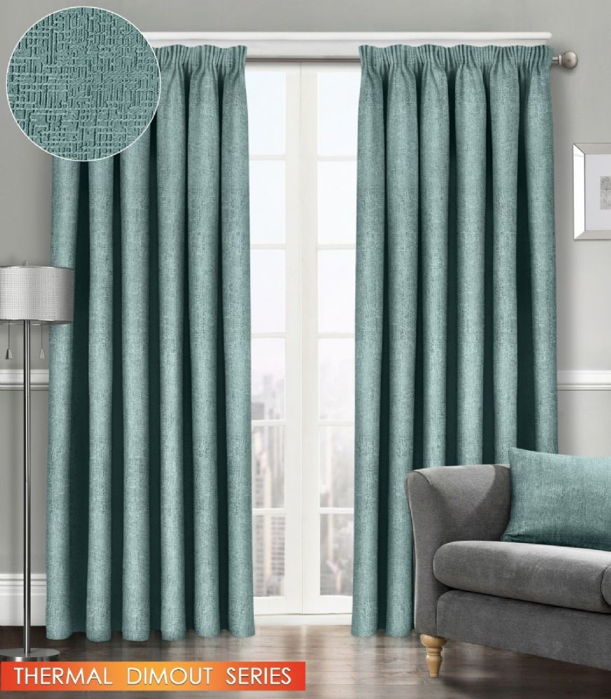 SEMI PLAIN READY MADE THERMAL WOVEN MATERIAL DIMOUT PENCIL PLEAT PAIR CURTAINS DUCK EGG COLOUR
